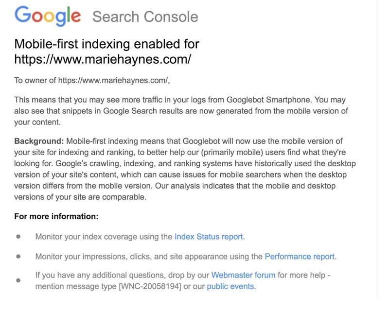 Mobile first indexing email from Google