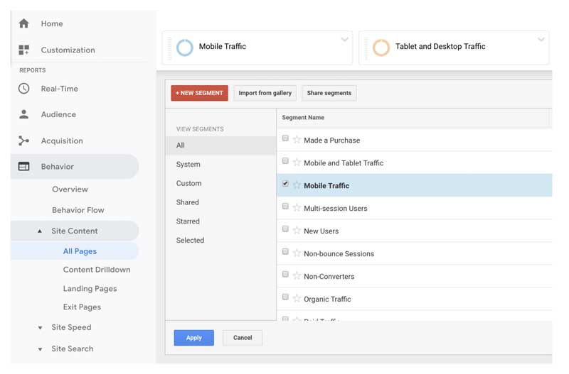 Looking at mobile traffic in Google Analytics